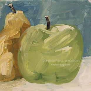 Art: Green Apple with Pear by Artist Windi Rosson