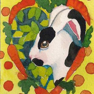 Art: Polka Dot Bunny by Artist Catherine Darling Hostetter