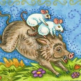 Art: WILD HOG RIDE by Artist Susan Brack
