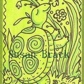 Art: Smiles Are Free * TURTLE FLOWERS Stamp By Susan Brack by Artist Susan Brack