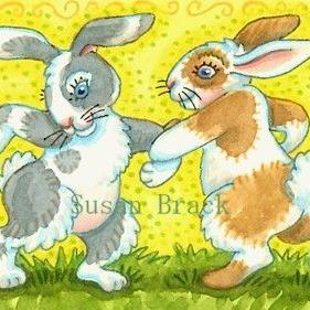 Art: SQUARE DANCING HARES by Artist Susan Brack