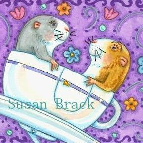 Art: GUINEA PIGS' RIDE IN THE CUP AND SAUCER by Artist Susan Brack
