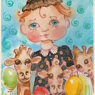 Art: Lily Rain Giraffe Party1 by Artist Catherine Darling Hostetter