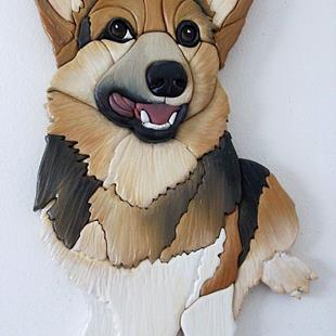 Art: Corgi....Smiler.... Original Painted Intarsia Art by Artist Gina Stern