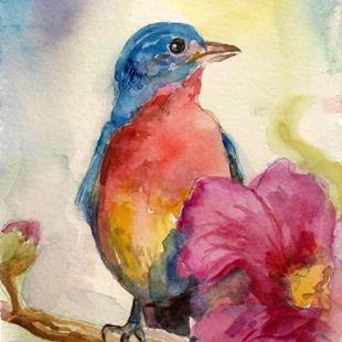 Art: Hollyhock Bird by Artist Catherine Darling Hostetter