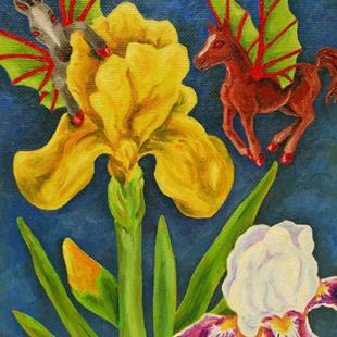 Art: Little Imp Fairy Horse Flies on Iris by Artist Kim Loberg