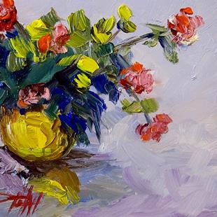 Art: Yellow Vase and Flowers by Artist Delilah Smith
