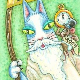 Art: Hiss N' Fitz - FATHER TIME AND LITTLE NEW YEAR by Artist Susan Brack