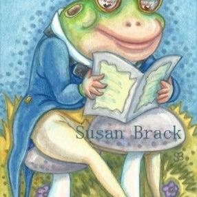 Art: READING THE BULLFROG GAZETTE by Artist Susan Brack