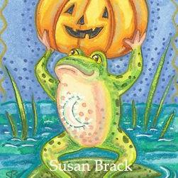 Art: FROG ON PUMPKIN POND by Artist Susan Brack