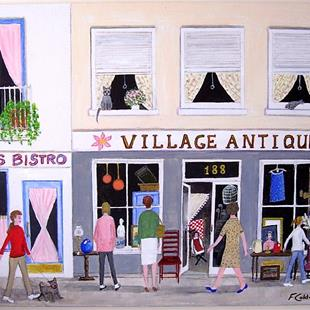 Art: Village Antiques by Artist Fran Caldwell