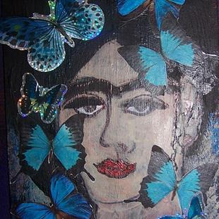 Art: Frida with Blue Butterflies SOLD by Artist Nancy Denommee