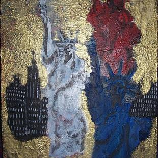 Art: Red White and Blue Ladies in Golden City glare SOLD by Artist Nancy Denommee