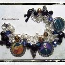 Art: Edgar A. Poe altered art charm bracelet one of a kind handmade by Artist Lisa  Wiktorek