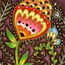 Art: Cheerful Conversation ACEO - Available by Artist Carmen Medlin