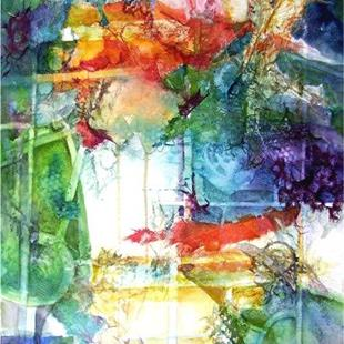 Art: Abstract Roses in a Vase by Artist Ulrike 'Ricky' Martin
