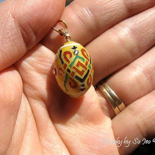 Art: Lovebird Egg Pysanky Easter Lapel Pin by Artist So Jeo LeBlond