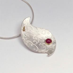 Art: Handmade Ruby Pendant with Flowers by Artist Andree Chenier