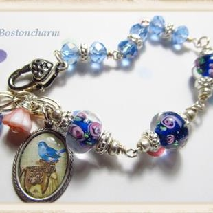 Art: Bird song Altered art charm bracelet one of a kind by Artist Lisa  Wiktorek