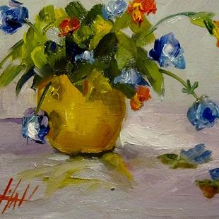 Art: Yellow Vase Blue Flowers by Artist Delilah Smith