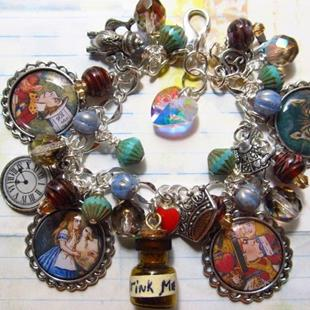 Art: Alice in Wonderland Altered art charm bracelet ooak by Artist Lisa  Wiktorek