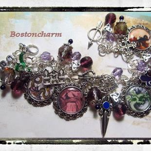 Art: Dragons Lair altered art charm bracelet by Artist Lisa  Wiktorek