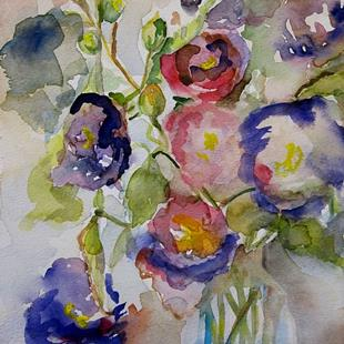 Art: Purple Hollyhocks-SOLD by Artist Delilah Smith