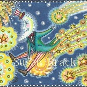 Art: MAN IN THE MOON CATCHES A RIDE ON THE 4TH OF JULY by Artist Susan Brack