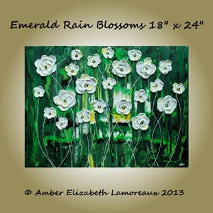 Art: Emerald Rain Blossoms (sold) by Artist Amber Elizabeth Lamoreaux