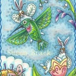 Art: FLUTTERBUN BIRD'S EYE VIEW ON A HUMMINGBIRD TOUR by Artist Susan Brack
