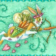 Art: FLUTTERBUN CUPID'S BOW AND CARROTS by Artist Susan Brack