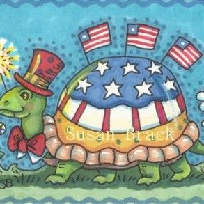 Art: TRUE BLUE TO THE RED WHITE AND BLUE - Tortoise by Artist Susan Brack