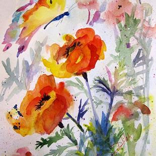 Art: Flower Garden with Butterfly by Artist Delilah Smith