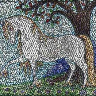 Art: GUARDIAN OF THE HERD-  Needlework Tapestry Rug Pillow by Artist Susan Brack