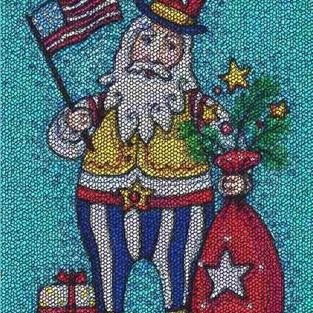 Art: HO HO HO CHRISTMAS IN JULY - Needlework Tapestry Hooked Rug by Artist Susan Brack