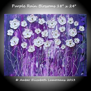 Art: Purple Rain Blossoms III (sold) by Artist Amber Elizabeth Lamoreaux