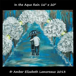 Art: In the Aqua Rain (sold) by Artist Amber Elizabeth Lamoreaux