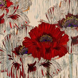 Art: Poppy Fields Retro Style by Artist Alma Lee