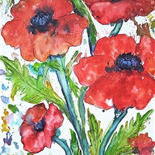 Art: Fresh Poppies by Artist Ulrike 'Ricky' Martin