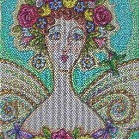 Art: MOTHER NATURE - Victorian Portrait Textile Needlework Tapestry Rug by Artist Susan Brack