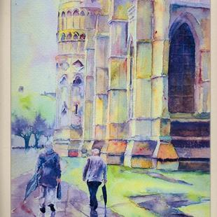 Art: After rain, Lincoln Cathedral by Artist John Wright