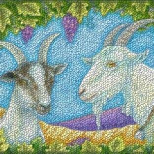 Art: NAPA VALLEY GOATS - Needlepoint Tapestry Rug by Artist Susan Brack