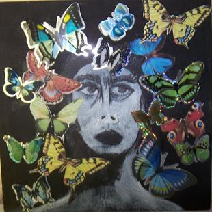 Art: Frida with Butterflies SOLD by Artist Nancy Denommee