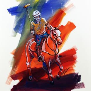 Art: POLO SKETCH 4 ~ COMMISSIONED by Artist Marcia Baldwin