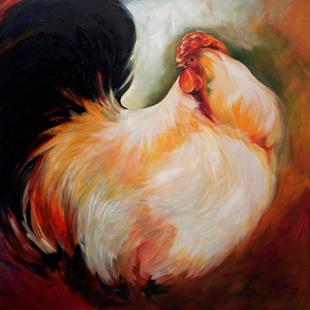 Art: WHITE ROOSTER ~ COMMISSION by Artist Marcia Baldwin