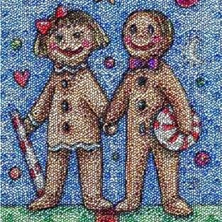 Art: GINGERBREAD BLISS - Needlework Tapestry Rug Pillow by Artist Susan Brack
