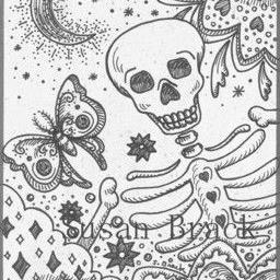 Art: BONES IN THE GARDEN - Gray Scale by Artist Susan Brack