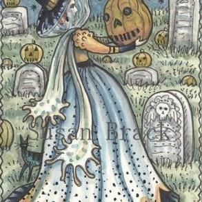 Art: WITCH IN THE GRAVEYARD by Artist Susan Brack