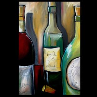 Art: Wine 108 2436 Original Abstract Art Reserve 13 by Artist Thomas C. Fedro