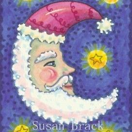Art: SANTA MOON ON A STARRY NIGHT by Artist Susan Brack